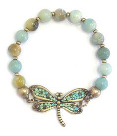 Vintage beaded gold tone dragonfly stretch bracelet.