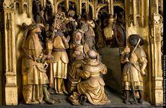 Schnitzfiguren - Anbetung der Weisen. Detail des Antwerpener Schnitzaltares in der St. Victor Kirche in Schwerte. Foto Dietrich Hackenberg