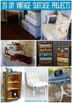 20 DIY Vintage Suitcase Projects   OHMY-CREATIVE.COM #VintageSuitcase