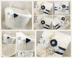 Bridal Ring Bearer Pillow and Flower Girl Basket Set in Ivory and Navy Blue with Lace, Crystal Brooch, Jewels and Pearls