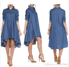Casual Denim Blue Pockets Shirt Irregular Loose Dress - M / Denim blue Womens Denim Dress, Denim Shirt Dress, Denim Shirts, Denim Jeans, Flannel Shirts, Blouse Dress, Bodycon Dress, Casual Dresses, Fashion Dresses