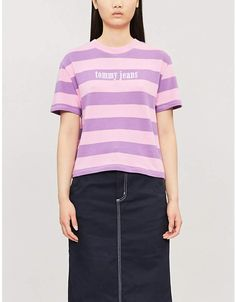 Tommy Jeans Logo-front striped cotton-jersey T-shirt Street Smart, Color Stripes, Tommy Hilfiger, Midi Skirt, Stylish, Tees, Casual, Cotton, Mens Tops
