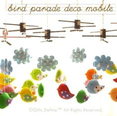 Musical Baby Mobile BIRD PARADE with Artist Choice por GiftsDefine