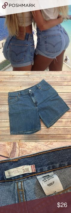"""Levi's High Waisted Relaxed Shorts Levi's High Waisted Relaxed Shorts. Size 14. Inseam 7.5""""/ length 17"""". Front rise 11""""/ back 13"""". 100% cotton. Pic 1 for styling inspiration Levi's Shorts Jean Shorts"""