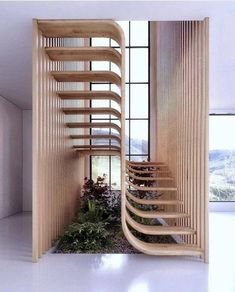 Two flights of stairs flow seamlessly into one another in this sleek sculptural staircase designed by Mexican architecture studio Arquitectura en Movimiento. Design Exterior, Home Interior Design, Interior And Exterior, Modern Interior, Interior Ideas, Ikea Interior, Studio Interior, Interior Designing, French Interior