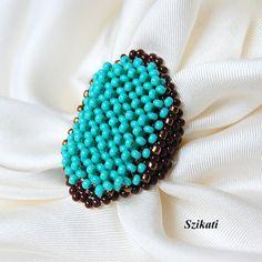 Anillo abalorios turquesa & marrón semilla del grano por Szikati