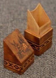 Rare Antique Figural Marquetry Inlaid Tunbridge Ware Wooden Needle Case