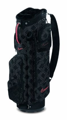 Nike Golf Women's Brassie Cart Bag by Nike. $189.98. Be the envy of your golfing friends with the Nike Brassie Cart golf bag. The bag includes a 9-inch oval top, 10-way fur-lined stadium top with external putter well, 9 functional pockets (7 zippered), and an insulated cooler pocket. It also comes with 2 matching accessory pouches, a matching rain hood, and logo cresting compatible/zip-off pocket.