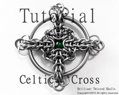 Tutorial for Celtic Cross Chain Maille Pendant in both square and round wire rings