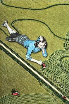 """""""Compulsive Artist"""" by Eugenia Loli / painting / collage / colors / création / green / vert / field / champs / fillette / girl"""