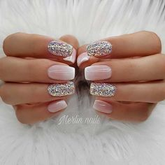 Try some of these designs and give your nails a quick makeover, gallery of unique nail art designs for any season. The best images and creative ideas for your nails. Glitter Gel Nails, Sparkly Nails, Pink Glitter, Gel Ombre Nails, Matte Gel Nails, Glitter French Manicure, Pastel Nails, Nail Polish, Cute Nail Designs