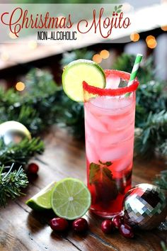 This Non Alcoholic Christmas Mojito recipe is perfect for evenings at home, parties and just generally making you feel festive! #ad