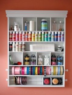 Craft Station - shelving needed in my craft closet. Finally to get those paints out of that basket off the top shelf so I can store more fabrics and stuff :)