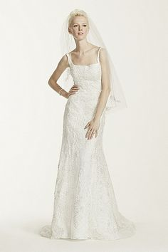 Tank Lace Trumpet Gown with Allover Beading CWG669