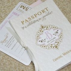 Vintage Monogram Passport Wedding Invitation (Cancun, Mexico)