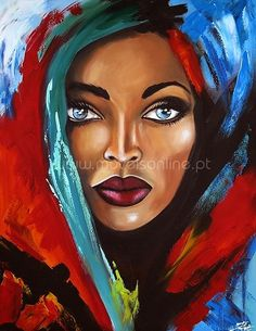Painting paint woman with blue eyes kind Arte Pop, Art And Illustration, African Art Paintings, Africa Art, African American Art, Portrait Art, Painting Inspiration, Female Art, Art Pictures