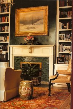The late, great Albert Hadley. The green tile around the fireplace. The garden stool. airslie: Source: Pinterest Albert Hadley