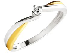 Pierścionek z białego złota z brylantem | Apart
