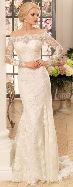 Attractive Tulle & Lace Off-the-shoulder Neckline Sheath Wedding Dresses With Lace Appliques