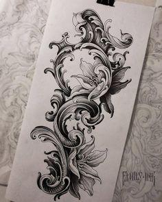 Black Tattoos, Body Art Tattoos, Sleeve Tattoos, Dove Tattoos, Men Flower Tattoo, Flower Tattoo Shoulder, Filigree Tattoo, Mandala Tattoo, Tattoo Sketches