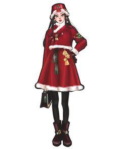 #christmas#한복#그림#illustration#drawing#sketch#일러스트#イラスト Korean Traditional, Traditional Dresses, Korean Hanbok, Fashion Art, Fashion Design, Anime Outfits, Illustrations, New Look, Girly