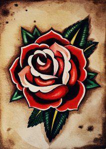 Rose Old School Tattoo Flash