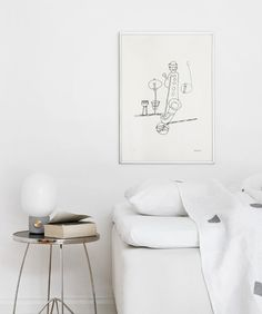 I like the idea of the bed centered with the side table at the head of it. ___ White living - Hege in France