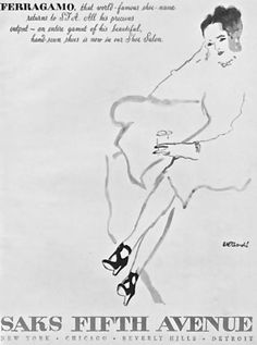 1947 | Salvatore Ferragamo at Saks  Drawing by René Bouché