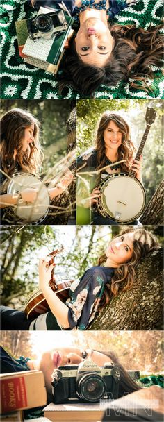 Senior pics with books, instrument, and camera!!!!!! Perfect!!!!
