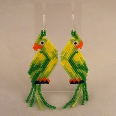 Peyote Stitch Parrot Earrings by ThoughtfulDog on Etsy, $24.00