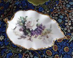 Royal Patrician Leaf Shape Tea Bag Caddy White Roses Violets England Bone China