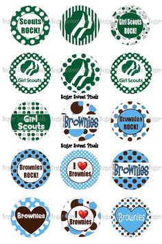 Girl Scout Brownies Inspired  1 inch Circle Bottlecap Images for Brownie crafts. Or could be idea for activity for Digital Media badge for older girls. $1.80 on Etsy