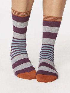 Irena Stripey Bamboo Socks in Heather