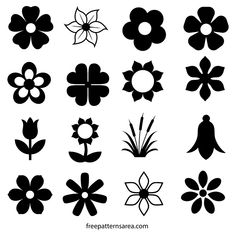 Vector graphics, CAD ve outline template set which consists of the silhouette image of different and cute flower shapes. Decorative flower drawings of this design are printable and cuttable. Flower Outline, Flower Svg, Flower Shape, Flower Clipart, Motif Vector, Vector Free, Vector Graphics, Silhouette Images, Silhouette Vector