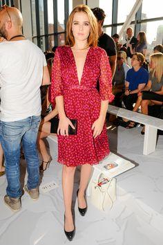 Zoey Deutch wearing the DVF Alicia Printed Chiffon Dress