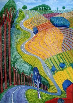 "guglielmina s on Twitter: "".  David Hockney  1 - Garrowby Hill, 1998 2 - Going up Garrowby Hill, 2000  #DavidHockney  #painting   #art   . .… "" David Hockney Artwork, David Hockney Landscapes, David Hockney Artist, Turner Watercolors, California Pictures, Litho Print, Chalk Pastels, Wood Engraving, Large Painting"