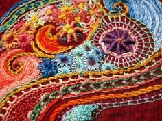 Embroidery on felt.. absolutely gorgeous.  I love Mary Corbet, her web site Needle N' Thread taught me so many stitches!