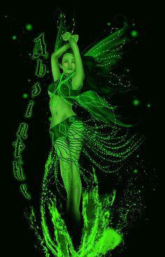 Absinthe green fairy by Ava Vongoth Green Fairy Absinthe, Artemisia Absinthium, Illustrations, Shades Of Green, 50 Shades, Faeries, Fantasy Art, Pin Up, Sexy