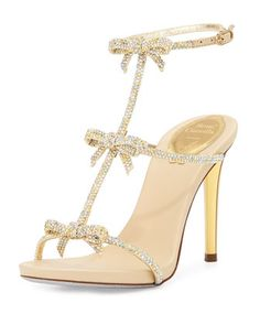 Bow Crystal T-Strap Sandal, Gold by Rene Caovilla at Neiman Marcus.