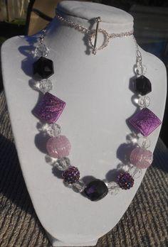 Jesse James Purple and Crystal Necklace by JewelryByAngelDesign