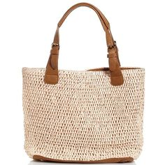 Straw Tote Bag ($13) ❤ liked on Polyvore featuring bags, handbags, tote bags, totes, tote bag purse, tote hand bags, pocket tote, faux-leather handbags and straw purses