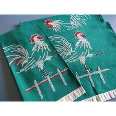 Vintage Tea Towels, Rooster, Stitched, Embroidered Dish Towel,... ($26) ❤ liked on Polyvore featuring home, kitchen & dining, kitchen linens, embroidered dish towels, green kitchen towels, green tea towels, green dish towels and hand embroidered dish towels