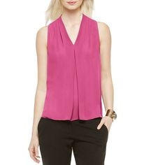 Vince Camuto V-Neck Pleated Blouse ($69) ❤ liked on Polyvore featuring tops, blouses, blossom, flower top, pink blouse, vince camuto blouses, vince camuto and pink top