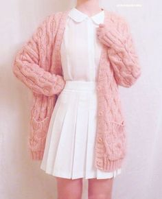 chunky ;ink sweater over all white chicness                                                                                                                                                                                 More