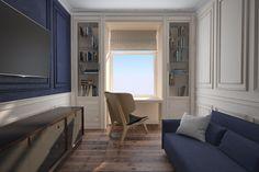Интерьер спальной комнаты для молодогов человека в минималистичном стиле. Оформление стен и предметы мебели выполнены в сочных синих и белоснежных цветах. Очень рационально и функционально использовано пространство у окна.