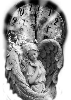 Love Tattoos, Black Tattoos, New Tattoos, Body Art Tattoos, Tattoo Sketches, Tattoo Drawings, Time Piece Tattoo, Cherub Tattoo, Clock Tattoo Design