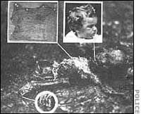 The Lindbergh Kidnapping had a very sad ending.  This is all that remained of the poor baby when they found him.  Very hard to look at folks, let alone think about.