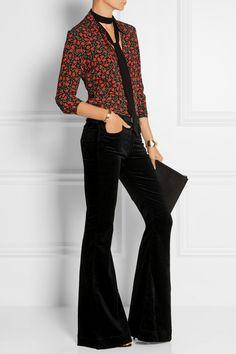 J Brand | Bella stretch-velvet flared pants. Black, velvet, and flared. Love these. #fashion