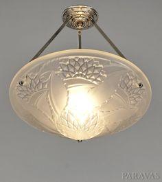 VIARMÉ : FRENCH 1930 ART DECO PENDANT CHANDELIER ........ lustre lamp muller era