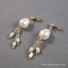 Argentium Silver Post Dangle Earrings with Blister Pearl and Mini-Tassle